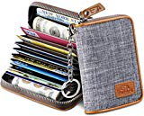 FurArt Credit Card Wallet, Zipper Card Cases Holder for Men Women, RFID Blocking, Key Chain, 12/16 Slots, Compact Size