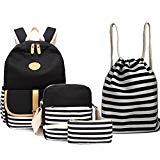 "BAGTOP School Backpack Set - Canvas Teen Girls Bookbags 15"" Laptop Backpack + Lunch Bags + Drawstring Backpack + Pen Case Bags Set (Black-3)"