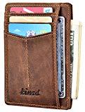 Slim Wallet RFID Front Pocket Wallet Minimalist Secure Thin Credit Card Holder (Dark Brown)