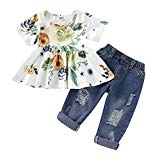 CARETOO Girls Clothes Outfits, Cute Baby Girl Floral Long Sleeve Pant Set Flower Ruffle Top (Green-2, 6-12Months)