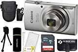 CanonPowerShot ELPH 180 20MP 8X Zoom Digital Camera (Silver) + 32GB Card + Reader + Case + Accessory Bundle
