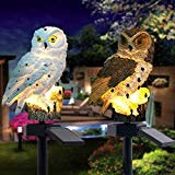 ☀ Dergo ☀ 2PCS LED Garden Lights Solar Night Lights Owl Shape Solar-Powered Lawn Lamp