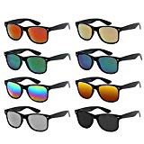 Neon Colors Party Favor Supplies Unisex Sunglasses Pack of 8 (Black Mirrored)