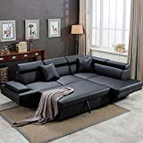 FDW Sofa Sectional Sofa Futon Sofa Bed Corner Sofas for Living Room Furniture Couch and Sofas Set Leather Sleeper Modern Contemporary Upholstered Black