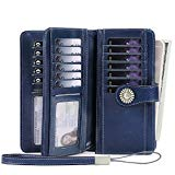 Women's Wallets, Large Capacity with RFID Protection, Genuine Leather, Deep Blue