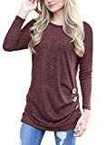 MOLERANI Women Long Sleeve Loose Button Trim Blouse Solid Color Round Neck Tunic T-Shirt Top Wine Red M