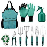 URCERI Garden Tool Set,10 Piece Heavy Duty Rust-Resistant Gardening Equipment with Garden Tool Bag,Gardening Gloves Shovels 98 Feet Bind Line and More,Perfect Garden Tools for Men and Woman