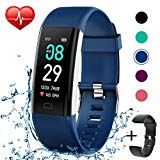 KITPIPI Fitness Tracker Activity Tracker Watch with Heart Rate Monitor, Pedometer Waterproof Smart Watch Sleep Monitor, Step Counter, Calorie Counter, for Kids Women and Men (Blue+Black)