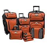 Travel Select Amsterdam II 8-Piece Rolling Luggage Set with Packing Cubes, Orange