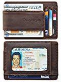 Toughergun Genuine Leather Magnetic Front Pocket Money Clip Wallet RFID Blocking (02 Crazy Horse Coffee)