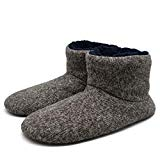 Mens Knit Slipper Boots Plush Foam Pull on Shoes Bedroom Household Ankle Slippers Rubber Sole Light Brown