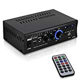 Home Audio Power Amplifier System - 2x120W Dual Channel Theater Power Stereo Receiver Box, Surround Sound w/ USB, RCA, AUX, LED, Remote, 12V Adapter - For Speaker, iPhone - Pyle PCAU46A