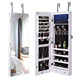 Nicetree 8 LED Mirror Jewelry Cabinet, Jewelry Armoire Organizer with Full Screen Mirror, Wall/Door Mounted, 8 LED Lights, Full Length Mirror, White