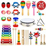 TAIMASI Kids Musical Instruments, 25PCS 18 Types Wooden Percussion Instruments Tambourine Xylophone Toys for Kids Children, Preschool Education Early Learning Musical Toy for Boys and Girls
