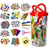 Dragon Too Mega Kids Art Supplies Jar - Over 1,000 Pieces of Colorful and Creative Arts and Crafts Materials - Glue, Safety Scissors, Pompoms, Popsicle Sticks, Pipe Cleaners and Loads More