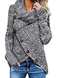 Asvivid Womens Turtleneck Cowl Neck Button Asymmetric Wrap Fall Loose Knit Pullover Sweater Coat Outerwear L Grey