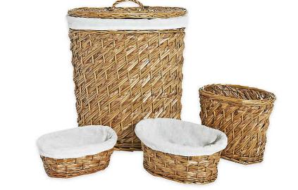 LaMont Home Hudson 4-Piece Hamper Basket Set in Natural