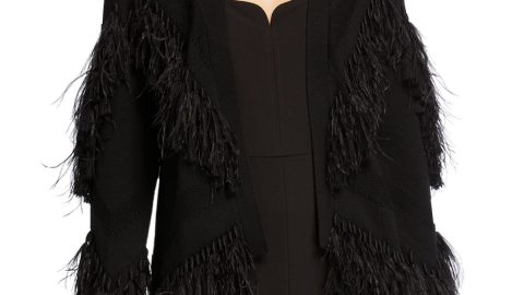 Clea Sweater with Fringe Ostrich Feathers