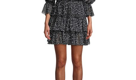 Michael Kors CollectionCheetah-Print Silk Chiffon Tiered Dance Dress