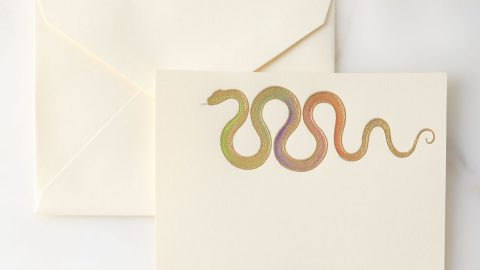 Hand-Painted Snake Note Cards with Envelopes, Set of 8