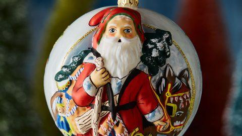 Jingle Ball Santa with Christmas Donkey Ornament