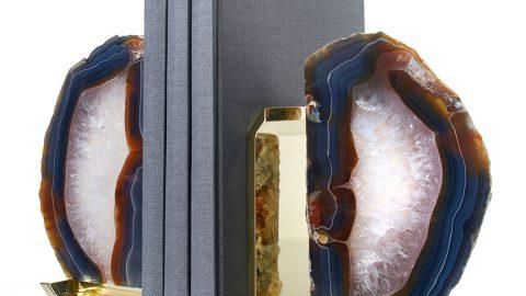 Fim Agate & Brass Bookends