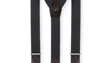 Men's Lindor Leather-Trim Stretch Braces, Gray