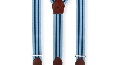 Men's Hugo Leather-Trim Braces, Blue