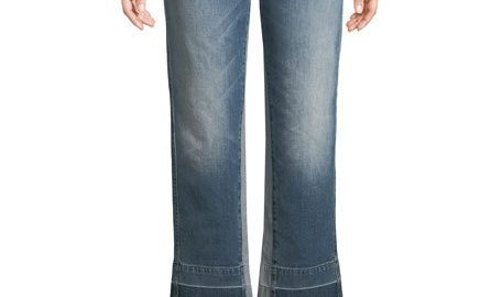 7 For All Mankind Kiki High-Rise Straight-Leg Jeans with Insert Panel & Released Hem