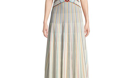 REDValentinoLong Off-the-Shoulder Multicolor Striped Yarn Dress
