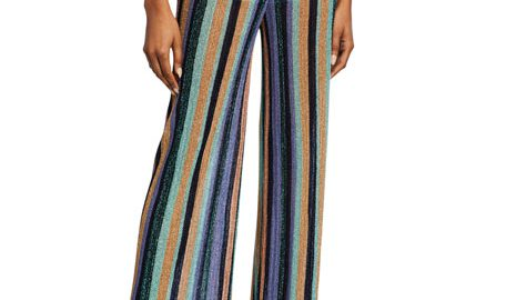 M MissoniMetallic Striped Wide-Leg Pants