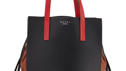 Leather & Nylon Drawstring Tote Bag