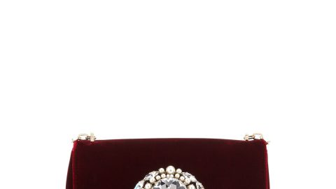 Thea Velvet Pearl Jewel Crossbody Bag, Wine