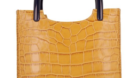 Crocodile-Embossed Leather Tote Bag
