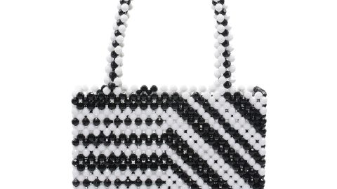 Zebra Beaded Acrylic Tote Bag