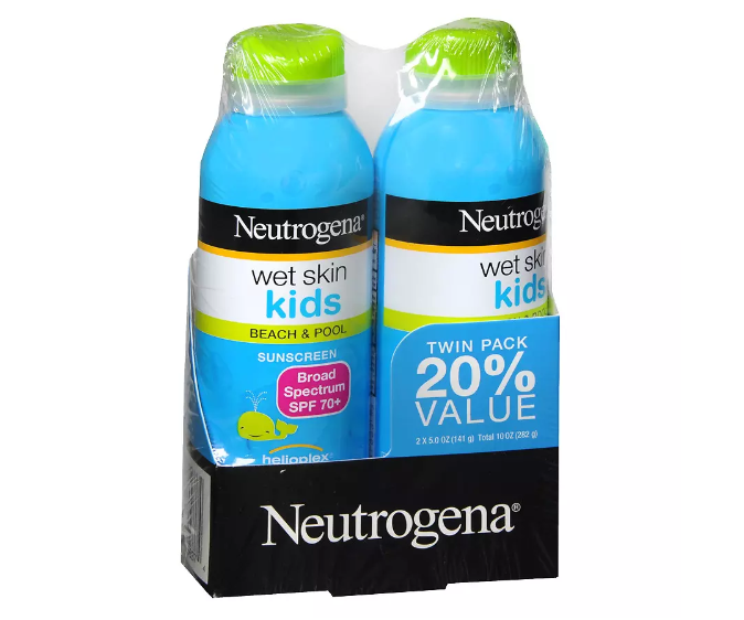 Neutrogena Wet Skin Kids Beach & Pool Sunscreen Spray, SPF 70+