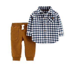 Carter's Baby Boys 2-Pc. Cotton Checkered Button-Front Top & French Terry Pants Set