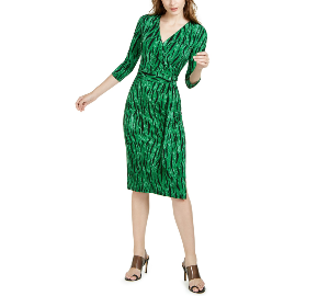 I.N.C. Side-Tie Faux-Wrap Dress