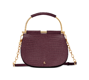 Ralph Lauren Croc Embossed Leather Mason Satchel
