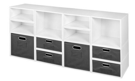 Niche Cubo Storage Set- 4 Full Cubes/8 Half Cubes with Foldable Storage Bins- White Wood Grain/Grey