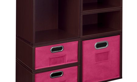 Niche Cubo Storage Set- 2 Full Cubes/4 Half Cubes with Foldable Storage Bins- Truffle/Pink