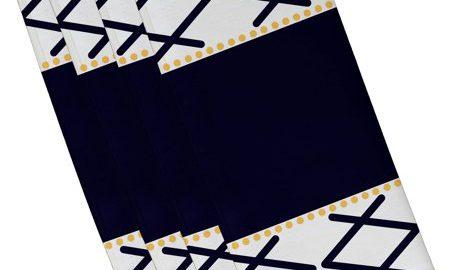 """Simply Daisy 19"""" x 19"""" Knot Fancy Geometric Print Napkin, Set of 4"""