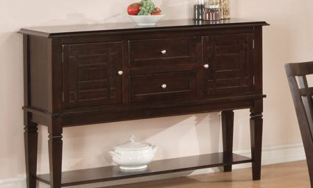 Home Source Espresso Server Table with Double Cabinet, 2 Drawers, and Lower Shelf