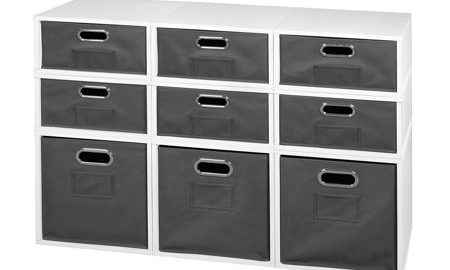 Niche Cubo Storage Set- 3 Full Cubes/6 Half Cubes with Foldable Storage Bins- White Wood Grain/Grey