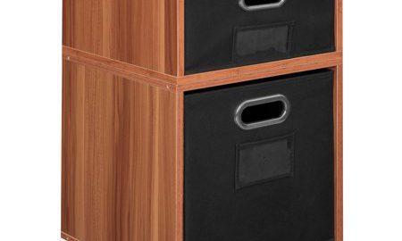 Niche Cubo Storage Set- 1 Half Cube/1 Full Cube with Foldable Storage Bins- Warm Cherry/Black
