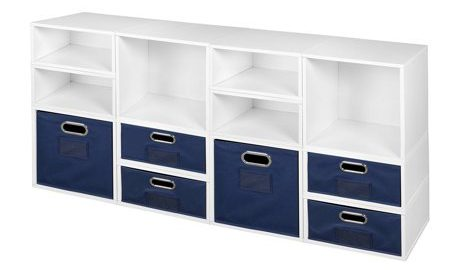 Niche Cubo Storage Set- 4 Full Cubes/8 Half Cubes with Foldable Storage Bins- White Wood Grain/Blue