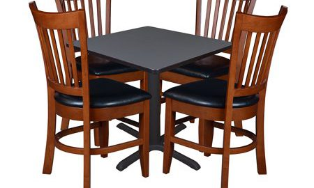 """Cain 30"""" Square Breakroom Table with 4 Zoe Caf © Chairs- Grey"""