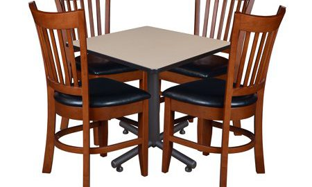 """Kobe 30"""" Square Breakroom Table with 4 Zoe Caf © Chairs- Beige"""