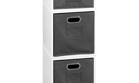 Niche Cubo Storage Set- 2 Full Cubes/1 Half Cube with Foldable Storage Bins- White Wood Grain/Grey