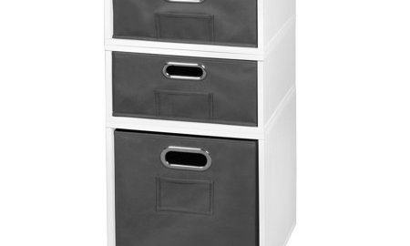 Niche Cubo Storage Set- 1 Full Cube/2 Half Cubes with Foldable Storage Bins- White Wood Grain/Grey